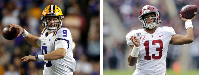 This combo of file photos shows, from left to right, LSU quarterback Joe Burrow and Alabama quarterback Tua Tagovailoa. A high-stakes tilt between LSU and Alabama could prove as pivotal in Heisman Trophy voting as it is in providing the winner an inside track to the College Football Playoff. (AP Photos/File)