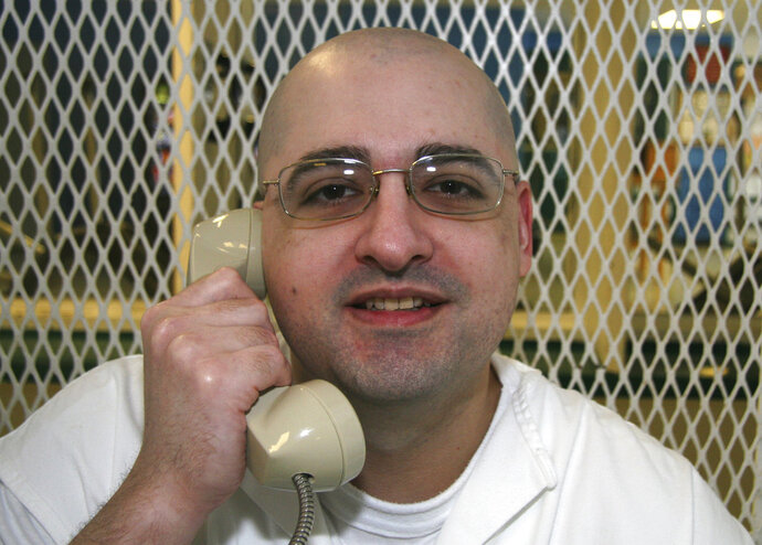 This May 9, 2018 photo shows Juan Edward Castillo at the Texas Department of Criminal Justice Polunsky Unit near Livingston, Texas. Castillo who is convicted of killing Tommy Garcia Jr. is set for execution Wednesday, May 16, 2018, for the slaying more than 14 years ago. He'd be the sixth inmate put to death this year in Texas, more than any other state. (AP Photo/Mike Graczyk)