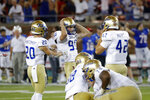 Tulsa kicker Zack Long (90) reacts after missing a field goal in the third overtime of the team's NCAA college football game against SMU, Saturday, Oct. 5, 2019, in Dallas. SMU won 43-37. (AP Photo/Roger Steinman)