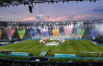 General view of the stadium during the opening ceremony prior to the Euro 2020 soccer championship group A match between Turkey and Italy at the Rome Olympic stadium, Friday, June 11, 2021. (AP Photo/Andrew Medichini, Pool)
