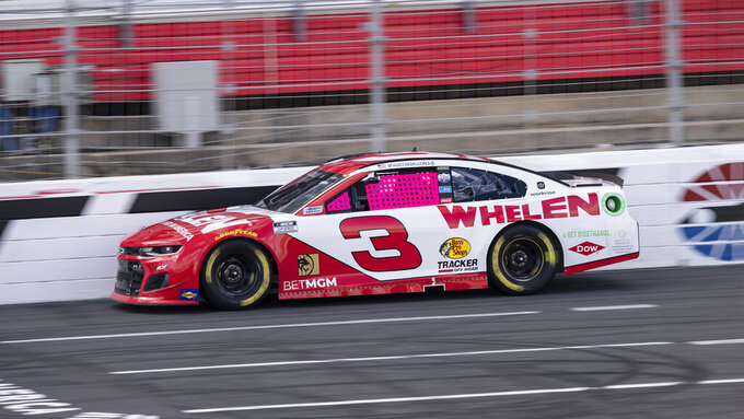 Austin Dillon (3) drives during a NASCAR Cup Series auto racing race at Charlotte Motor Speedway, Monday, Oct. 11, 2021, in Concord, N.C. (AP Photo/Matt Kelley)
