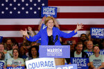 Democratic presidential candidate Sen. Elizabeth Warren, D-Mass., speaks to supporters at a caucus night campaign rally Monday, Feb. 3, 2020, in Des Moines, Iowa. (AP Photo/Sue Ogrocki)
