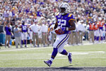 LSU running back Clyde Edwards-Helaire (22) scores a touchdown on a 9-yard run against Vanderbilt in the first half of an NCAA college football game Saturday, Sept. 21, 2019, in Nashville, Tenn. (AP Photo/Mark Humphrey)