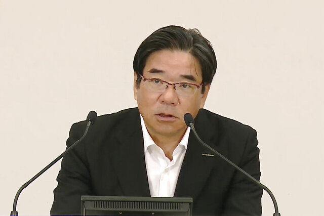 In this image taken fromNissanYouTube provided by NissanMotor Co., Ltd, Hideyuki Sakamoto, executive vice president of Nissan Motor Co., speaks during an online press conference in Yokohama, near Tokyo Thursday, Sept. 3, 2020. Nissan says it has developed a new way to produce high-tech auto parts that highlights the Japanese automaker's engineering finesse, even as it faces a criminal trial in an ongoing scandal involving former Chairman Carlos Ghosn. (NissanMotor Co., Ltd via AP)
