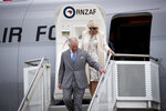 Britain's Prince Charles and his wife Camilla arrive at RNZAF Base in Auckland Sunday, Nov. 17, 2019. The couple arrived in New Zealand on Sunday for a weeklong trip, during which they plan to visit the city of Christchurch and the historic treaty grounds at Waitangi, where the nation's founding document was signed. (Dean Purcell/New Zealand Herald via AP)