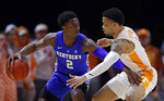 Kentucky guard Ashton Hagans (2) works against Tennessee guard Lamonte Turner (1) during the first half of an NCAA college basketball game Saturday, March 2, 2019, in Knoxville, Tenn. (AP Photo/Wade Payne)