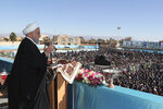 In this photo released by the official website of the office of the Iranian Presidency, President Hassan Rouhani speaks at a public gathering in the city of Rafsanjan in Iran's southwest Kerman province, Monday, Nov. 11, 2019. Rouhani on Monday called on hard-liners to support the country's troubled nuclear deal, saying it could open up international arms sales for the Islamic Republic next year. (Office of the Iranian Presidency via AP)