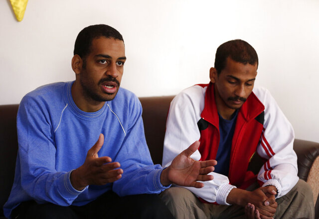 FILE - In this March 30, 2019, file photo, Alexanda Amon Kotey, left, and El Shafee Elsheikh, who were allegedly among four British jihadis who made up a brutal Islamic State cell dubbed