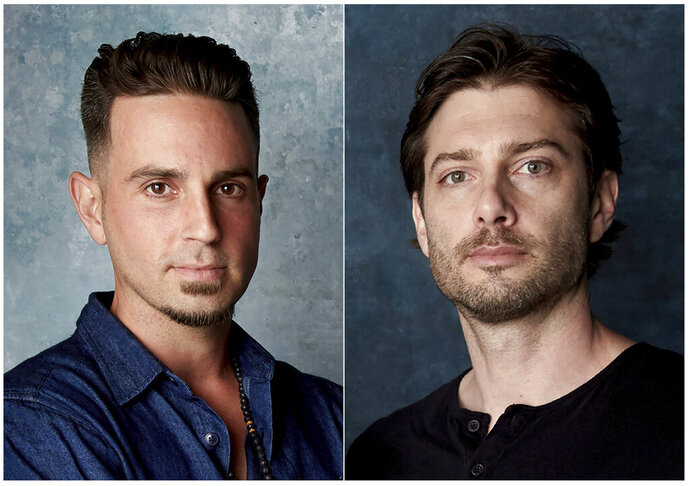In this combination photo, Wade Robson, left, and James Safechuck pose for a portrait to promote the film
