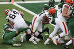 Cleveland Browns running back Nick Chubb (24) rushes for a touchdown during the second half of an NFL football game against the New York Jets, Sunday, Dec. 27, 2020, in East Rutherford, N.J. (AP Photo/Bill Kostroun)