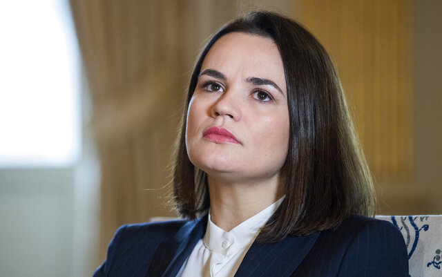 Belarus opposition leader Svetlana Tsikhanouskaya listens, during a bilateral visit, in Stockholm, Sweden, Tuesday, Nov. 17, 2020. Tsikhanouskaya met with Swedish Foreign Minister Ann Linde.  (Claudio Bresciani/TT News Agency via AP)