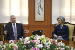 U.S. Special Representative for North Korea Stephen Beigun, left, gestures while speaking to South Korean Foreign Minister Kang Kyung-wha during their meeting at Foreign Ministry in Seoul Saturday, Feb. 9, 2019. Beigun returned from three days of talks in Pyongyang, North Korea, before the second summit between U.S. President Donald Trump and North Korean leader Kim Jong Un in Vietnam later this month. (Ed Jones/Pool Photo via AP)