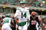 New York Jets quarterback Sam Darnold (14) reacts during the second half of an NFL football game against the Cincinnati Bengals, Sunday, Dec. 1, 2019, in Cincinnati. (AP Photo/Gary Landers)