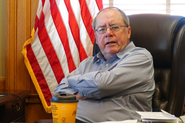 Kansas Senate Minority Leader Anthony Hensley, D-Topeka, answers questions during an Associated Press interview, Friday, June 26, 2020, in his Statehouse office in Topeka, Kan. Hensley suggests Republican legislative leaders are trying to score