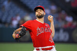 Los Angeles Angels starting pitcher Patrick Sandoval throws during the first inning of the team's baseball game against the Texas Rangers on Wednesday, Aug. 28, 2019, in Anaheim, Calif. (AP Photo/Mark J. Terrill)