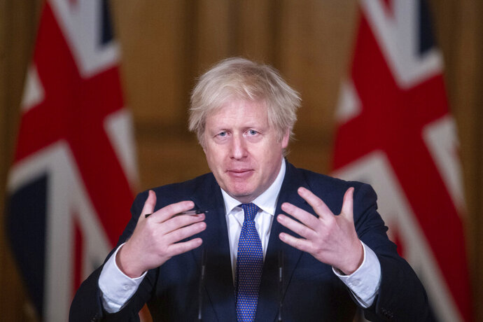 Britain's Prime Minister Boris Johnson speaks during a media briefing on COVID-19, in Downing Street, London, Friday Jan. 15, 2021. (Dominic Lipinski/Pool via AP)