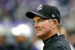 Minnesota Vikings head coach Mike Zimmer stands on the field before an NFL football game against the Oakland Raiders, Sunday, Sept. 22, 2019, in Minneapolis. (AP Photo/Bruce Kluckhohn)