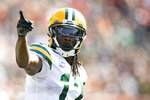 Green Bay Packers wide receiver Davante Adams (17) reacts during an NFL football game against the Cincinnati Bengals, Sunday, Oct. 10, 2021, in Cincinnati. Adams is on pace to accumulate more catches and yards receiving than he did last year while earning All-Pro honors. (AP Photo/Emilee Chinn)