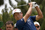 South Korea's K.J. Choi hits from the 4th tee during the opening round of the Australian Open golf tournament in Sydney, Thursday, Dec. 5, 2019. (AP Photo/Rick Rycroft)