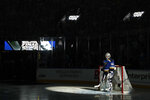 St. Louis Blues goaltender Jordan Binnington is introduced before Game 3 of the NHL hockey Stanley Cup Final between the Blues and the Boston Bruins Saturday, June 1, 2019, in St. Louis. (AP Photo/Jeff Roberson)