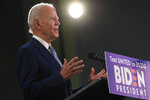 Democratic presidential candidate, former Vice President Joe Biden speaks during an event in Dover, Del., Friday, June 5, 2020. Biden has won the last few delegates he needed to clinch the Democratic nomination for president. (AP Photo/Susan Walsh)