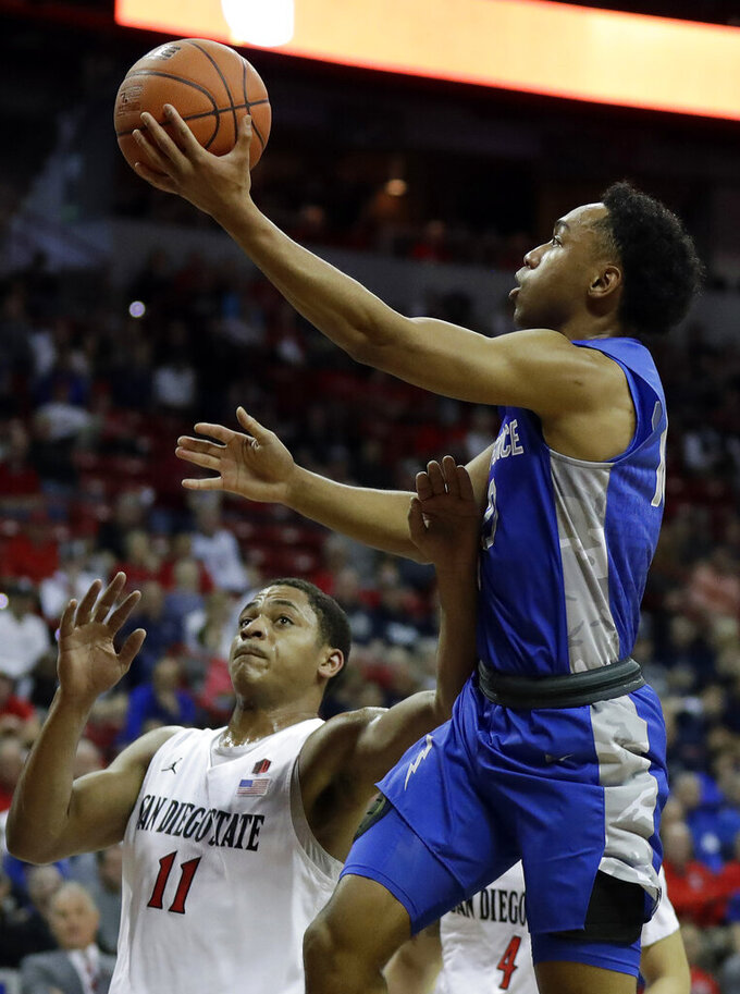 Air Force's A.J. Walker shoots as San Diego State's Matt Mitchell defends during the first half of a Mountain West Conference tournament NCAA college basketball game Thursday, March 5, 2020, in Las Vegas. (AP Photo/Isaac Brekken)