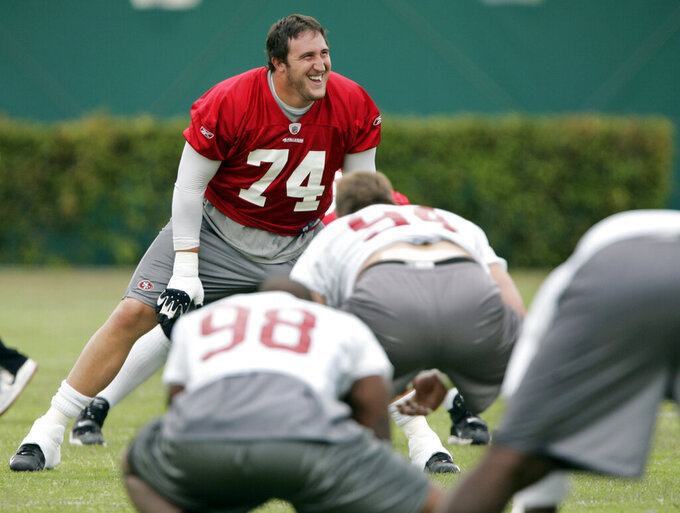 FILE - In this June 5, 2009, file photo, San Francisco 49ers offensive tackle Joe Staley (74) smiles during 49ers NFL football minicamp at the team headquarters in Santa Clara, Calif. Staley was the one constant in San Francisco during a more than decade-long roller coaster that saw the 49ers go from the basement to the Super Bowl twice in a career that ended with his retirement last week. (AP Photo/Paul Sakuma, File)