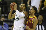 Baylor forward Tristan Clark (25) is guarded by Iowa State forward George Conditt IV (4) during the second half half of an NCAA college basketball game Wednesday Jan. 15, 2020, in Waco, Texas. (AP Photo/Jerry Larson)