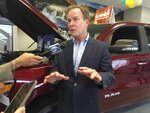 In a photo from July 31, 2018, Michigan Attorney General Bill Schuette, a Republican candidate for governor, speaks during a campaign stop at LaFontaine Chrysler Dodge Jeep Ram FIAT of Lansing, Mich. He is among four Republicans running in the gubernatorial primary. (AP Photo/David Eggert)