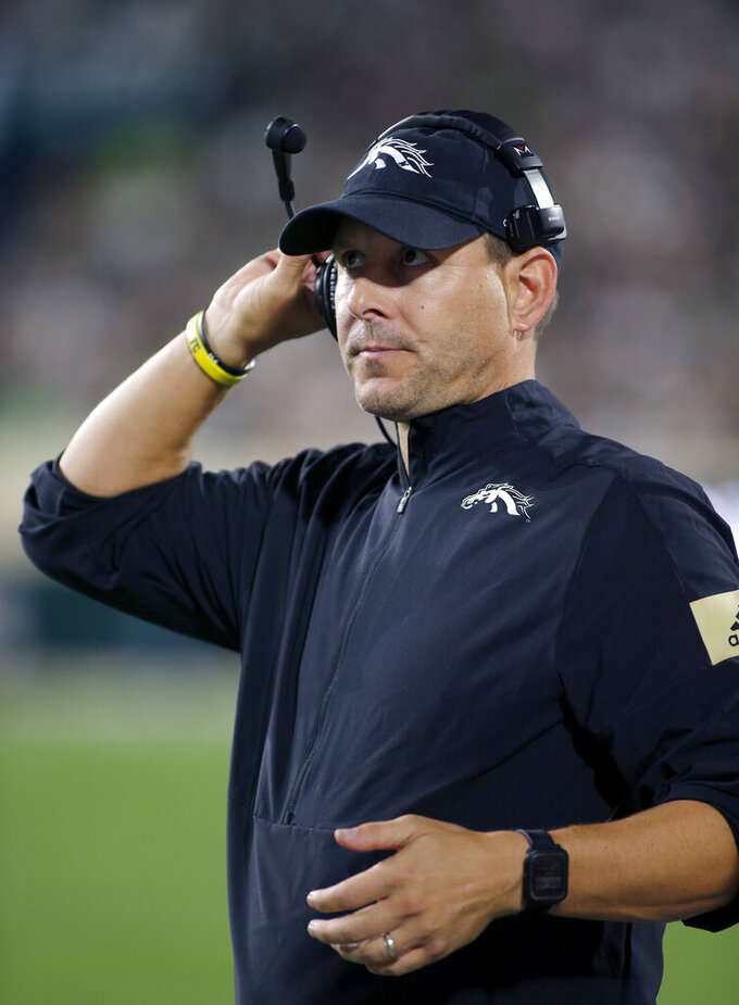 Western Michigan coach Tim Lester watches from the sideline during the fourth quarter of an NCAA college football game against Michigan State, Saturday, Sept. 7, 2019, in East Lansing, Mich. Michigan State won 51-17. (AP Photo/Al Goldis)