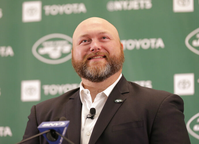 New York Jets general manager Joe Douglas speaks during a press conference at the team's NFL football training facility in Florham Park, N.J., Tuesday, June 11, 2019. (AP Photo/Seth Wenig)