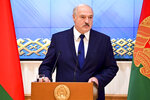 Belarusian President Alexander Lukashenko speaks during a meeting with the country's political activists in Minsk, Belarus, Wednesday, Sept. 16, 2020.(Andrei Stasevich/BelTA Pool Photo via AP)