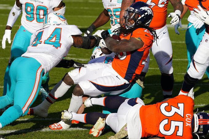 Denver Broncos running back Melvin Gordon (25) scores a touchdown as Miami Dolphins outside linebacker Elandon Roberts (44) defends during the first half of an NFL football game, Sunday, Nov. 22, 2020, in Denver. (AP Photo/Jack Dempsey)