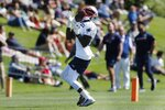 New England Patriots wide receiver Nelson Agholor makes a catch during an NFL football practice, Saturday, July 31, 2021, in Foxborough, Mass. (AP Photo/Michael Dwyer)