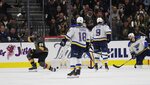 Vegas Golden Knights right wing Alex Tuch (89) celebrates after scoring against the St. Louis Blues during the third period of an NHL hockey game Thursday, Feb. 13, 2020, in Las Vegas. The Golden Knights won 6-5 in overtime. (AP Photo/Isaac Brekken)