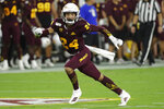 Arizona State defensive back Chase Lucas (24) watches a Sacrament State play develop during the first half of an NCAA college football game Friday, Sept. 6, 2019, in Tempe, Ariz. (AP Photo/Matt York)