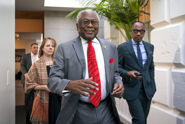 House Majority Whip James Clyburn, D-S.C., arrives to meet with other House Democrats on the morning following Iranian attacks on bases in Iraq housing U.S. troops, at the Capitol in Washington, Wednesday, Jan. 8, 2020. (AP Photo/J. Scott Applewhite)