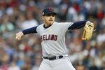 Cleveland Indians pitcher Aaron Civale throws against the Minnesota Twins in the first inning of a baseball game Saturday, Sept 7, 2019, in Minneapolis. (AP Photo/Jim Mone)
