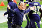 Seattle Seahawks head coach Pete Carroll reacts during the first half of an NFL football game against the San Francisco 49ers, Sunday, Jan. 3, 2021, in Glendale, Ariz. (AP Photo/Rick Scuteri)