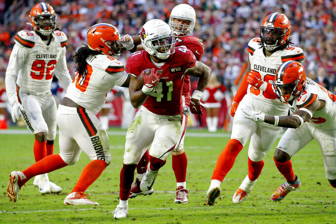 Arizona Cardinals running back Kenyan Drake (41) runs for his fourth touchdown of the game during the second half of an NFL football game against the Cleveland Browns, Sunday, Dec. 15, 2019, in Glendale, Ariz. (AP Photo/Ross D. Franklin)