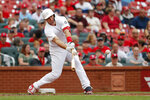 St. Louis Cardinals' Paul Goldschmidt hits a two-run single during the second inning of a baseball game against the Colorado Rockies Sunday, Aug. 25, 2019, in St. Louis. (AP Photo/Jeff Roberson)
