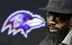 FILE - In this May 7, 2015, file photo, Baltimore Ravens safety Ed Reed speaks at an NFL football news conference announcing his retirement, in Owings Mills, Md. Reed will be inducted into the Pro Football Hall of Fame in Canton, Ohio, on Aug. 3, 2019. (AP Photo/Patrick Semansky, File)