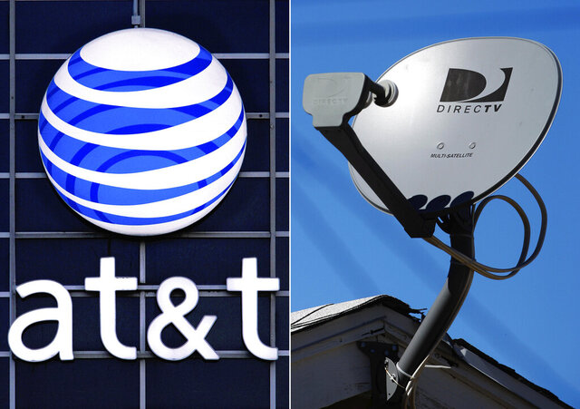 FILE - This file photo combo shows the AT&T logo on the side of a corporate office in Springfield, Ill., left, and a DirecTV satellite dish atop a home in Los Angeles. AT&T is launching a new internet-delivered TV service Monday as it struggles with a shrinking DirecTV satellite business. The new service, AT&T TV, will have the same channels offered on DirecTV, but it'll come over the internet rather than a satellite dish. AT&T has been testing the service in about a dozen markets and is now making it available to anyone.  (AP Photo/File)