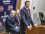 New Mississippi athletic director Keith Carter speaks at a press conference at the Manning Center in Oxford, Miss., Friday, Nov. 22, 2019. (Bruce Newman/The Oxford Eagle via AP)