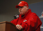 Kansas City Chiefs head coach Andy Reid listens to a question during a news conference after the AFC Championship NFL football game against the New England Patriots, Sunday, Jan. 20, 2019, in Kansas City, Mo. (AP Photo/Jeff Roberson)
