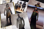 This Jan. 15, 2019 photo shows renderings of fashions created by Oscar nominated costume designer Ruth E. Carter for the film