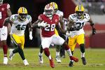 San Francisco 49ers running back Trey Sermon (28) runs against the Green Bay Packers during the second half of an NFL football game in Santa Clara, Calif., Sunday, Sept. 26, 2021. (AP Photo/Tony Avelar)