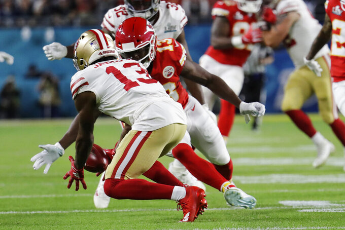 San Francisco 49ers' Richie James Jr. (13) fumbles a punt, which he recovered the Kansas City Chiefs during the first half of the NFL Super Bowl 54 football game, Sunday, Feb. 2, 2020, in Miami Gardens, Fla. (AP Photo/Lynne Sladky)