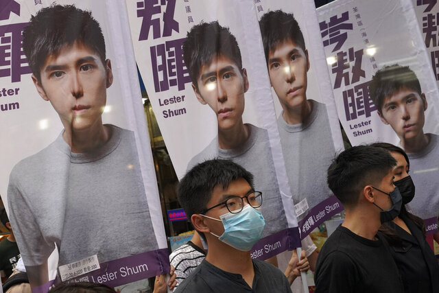 "Hong Kong activist Joshua Wong attends an activity for the upcoming Legislative Council elections in Hong Kong Saturday, June 20, 2020. Wong said Thursday that opposing a draft national security law for Hong Kong ""could be my last testimony (while) I am still free."" (AP Photo/Vincent Yu)"