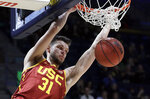 Southern California's Nick Rakocevic scores against California in the second half of an NCAA college basketball game Saturday, Feb. 16, 2019, in Berkeley, Calif. (AP Photo/Ben Margot)